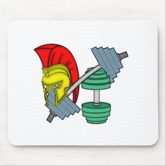 Spartan's helmet on gym equipment mouse pad