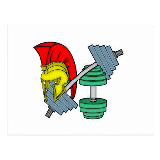 Spartan's helmet on gym equipment postcard
