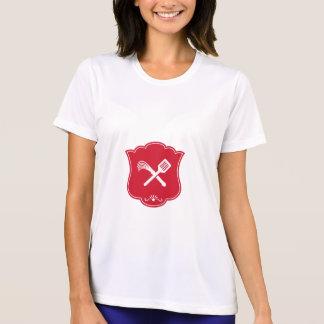 Spatula Flogger Whip Crossed Shield Retro T-Shirt