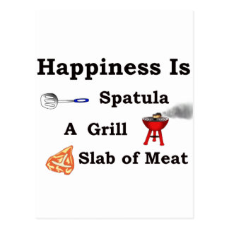 spatula grill and a slab of meat post card