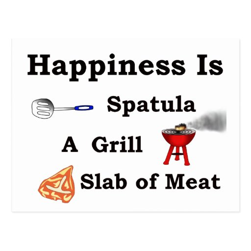 spatula grill and a slab of meat post cards