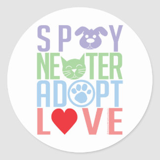 Spay Neuter Adopt Love 2 Classic Round Sticker