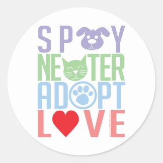 Spay Neuter Adopt Love 2 Round Sticker