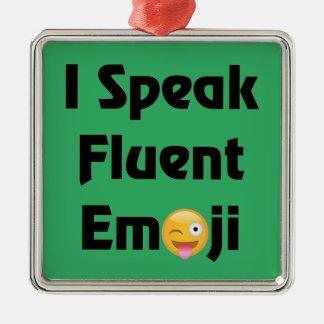 Speak Fluent Emoji Metal Ornament