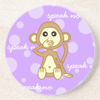Speak No Evil - Cute Monkey Cartoon Coaster