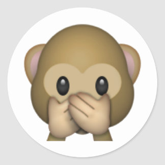Speak No Evil Monkey - Emoji Classic Round Sticker