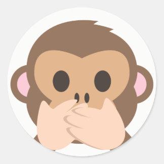 Speak-No-Evil Monkey Emoji Round Sticker