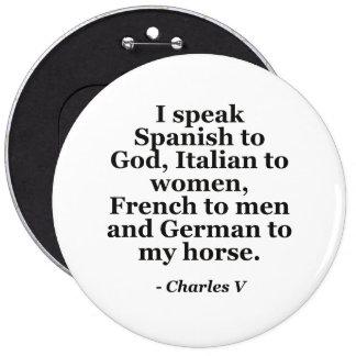 speak Spanish Italian French German Quote Pins