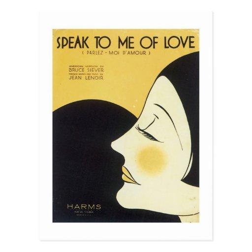 Speak to Me of Love Vintage Songbook Cover Postcards