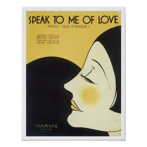 Speak to Me of Love Vintage Songbook Cover Posters
