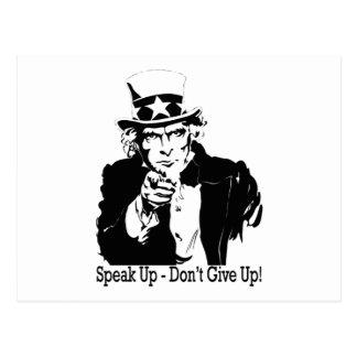 speak up don't give up  Uncle Sam Postcard