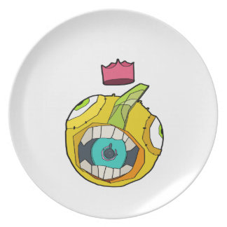 Speaker mouth ball character in explosive backgrou party plate