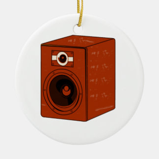 Speaker Single Grunged Graphic Red Brown Ceramic Ornament