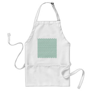 Spearmint Green And White Zigzag Chevron Pattern Aprons
