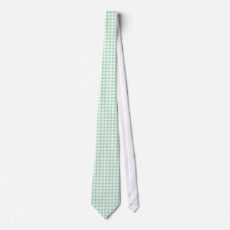 Spearmint Green Gingham Pattern Neckties For Men