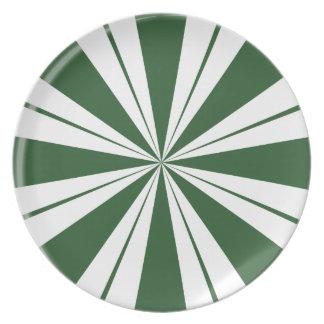 Spearmint Stripe Candy Plate