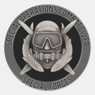 Spec Ops Diver Round Sticker