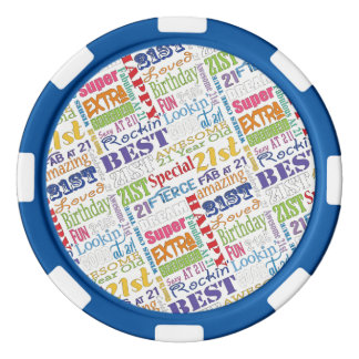 Special 21st Birthday Party Personalized Monogram Poker Chips