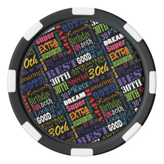 Special 30th Birthday Party Photo With Monogram Poker Chips