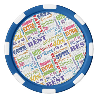Special 40th Birthday Party Personalized Monogram Poker Chips