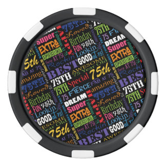 Special  75th Birthday Party Personalized Monogram Poker Chips