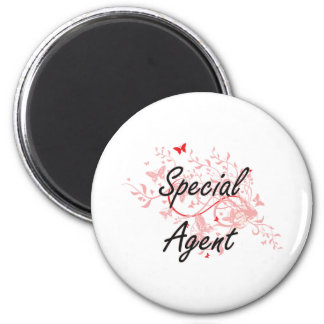 Special Agent Artistic Job Design with Butterflies 6 Cm Round Magnet