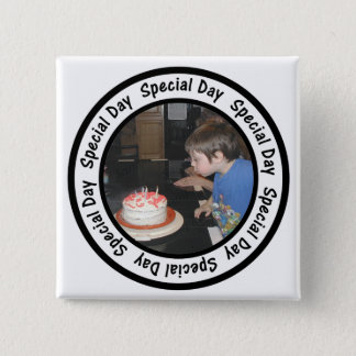 Special Day Frame Circle Add Your Photo 15 Cm Square Badge