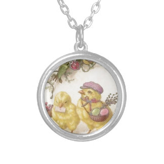 Special Delivery Easter Chicks Silver Plated Necklace