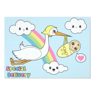 Special Delivery - Stork & Baby 13 Cm X 18 Cm Invitation Card
