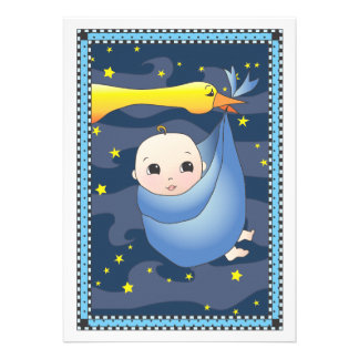Special Delivery Stork Bundle of Boy Baby Shower Custom Invitations