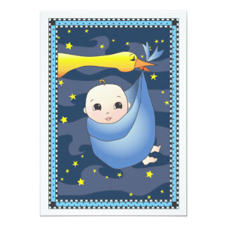 Special Delivery Stork Bundle of Boy Baby Shower 13 Cm X 18 Cm Invitation Card