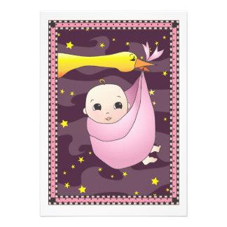Special Delivery Stork Bundle of Girl Baby Shower Custom Invite