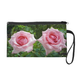 Special Design Hand Bag With Two Pink Rose Flowers Wristlets