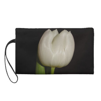 Special Design Hand Bag With White Tulip Flower Wristlet Clutches