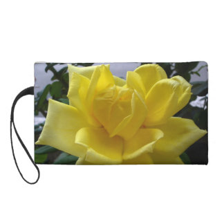 Special Design Hand Bag With Yellow Rose Flower Wristlet Clutch