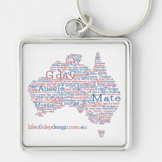 Special Edition Aussie Slang Keyring Silver-Colored Square Key Ring
