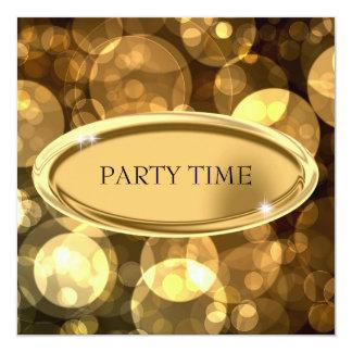 Special Event Elegant Black & Gold Bubbles 2 13 Cm X 13 Cm Square Invitation Card