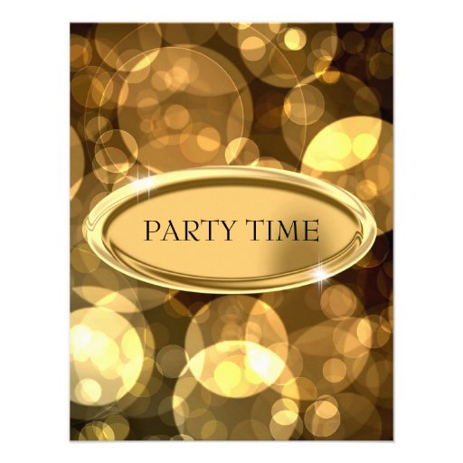 Special Event Elegant Black & Gold Bubbles Custom Invitation