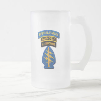 Special Forces Group Green Berets SF SOF SFG SOC Frosted Glass Beer Mug