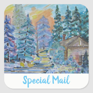 Special Mail Cabin in the Woods Winter Scene (20) Square Sticker