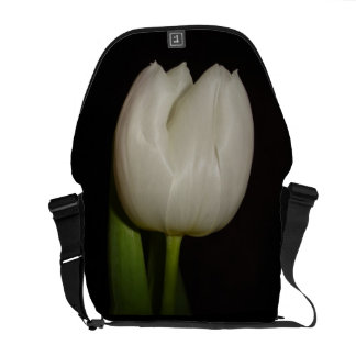 Special Messenger Bag With White Tulip Flower