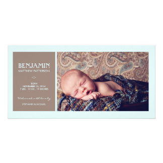 Special Moment Photo Baby Boy Birth Announcement Customised Photo Card