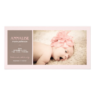 Special Moment Photo Baby Girl Birth Announcement Customized Photo Card