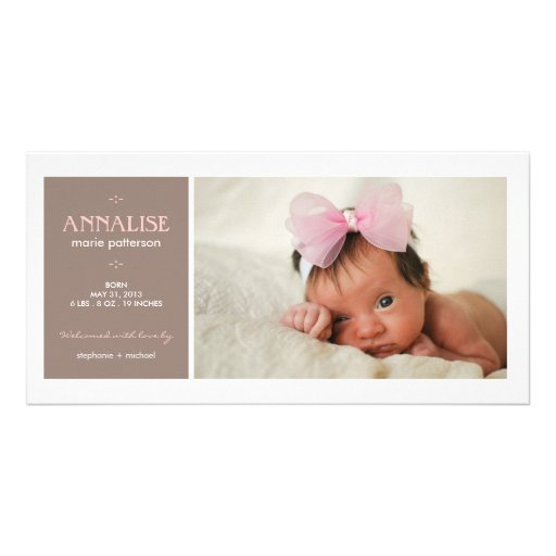 Special Moment Photo Baby Girl Birth Announcement Picture Card