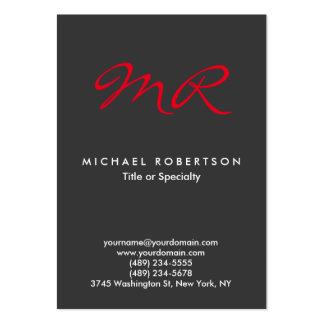 Special Monogram Grey Red Clean Large Business Cards (Pack Of 100)