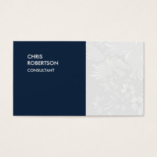 Special Navy Blue Floral Damask Business Card
