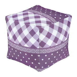 Special Purple Cube Home Decor Floor Sitting Pouf