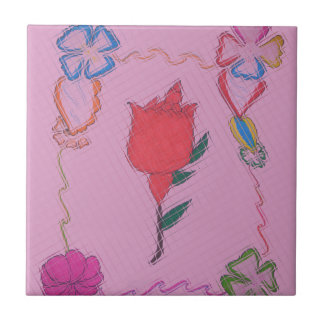 Special Rose Tile Art Graphic Design