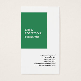 Special Sea Green White Modern Unique Minimalist Business Card