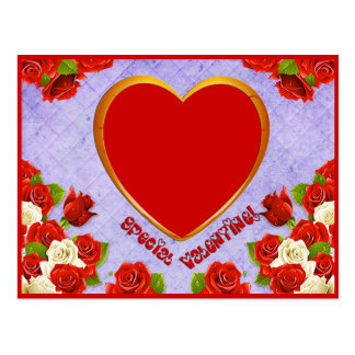 Special Valentine, Roses and Frame Add Photo Postcard